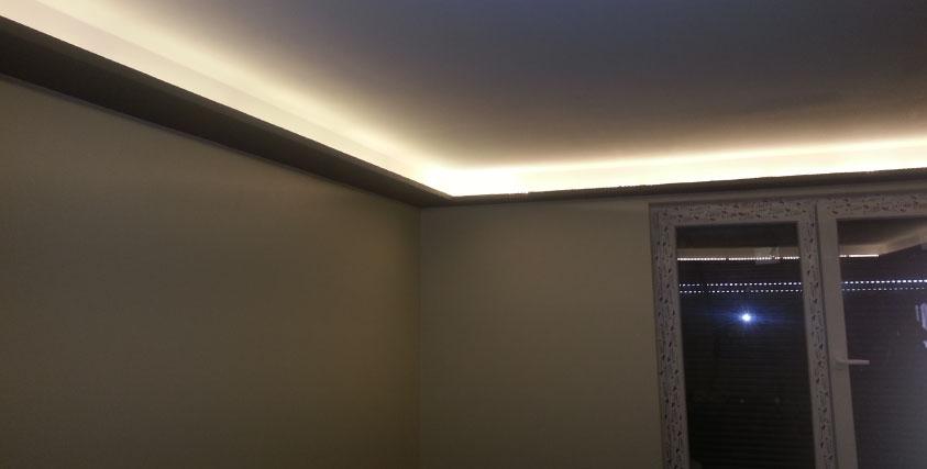 Eclairage plafond sur corniches